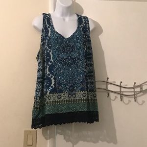 Plus beaded and sequined boho top